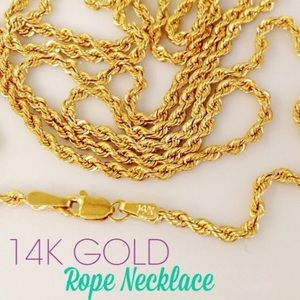 """Brand New!!! 14k Gold 26"""" Classic Rope Necklace"""